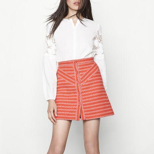 Short buttoned jacquard skirt : Skirts & Shorts color Terracota Tiles