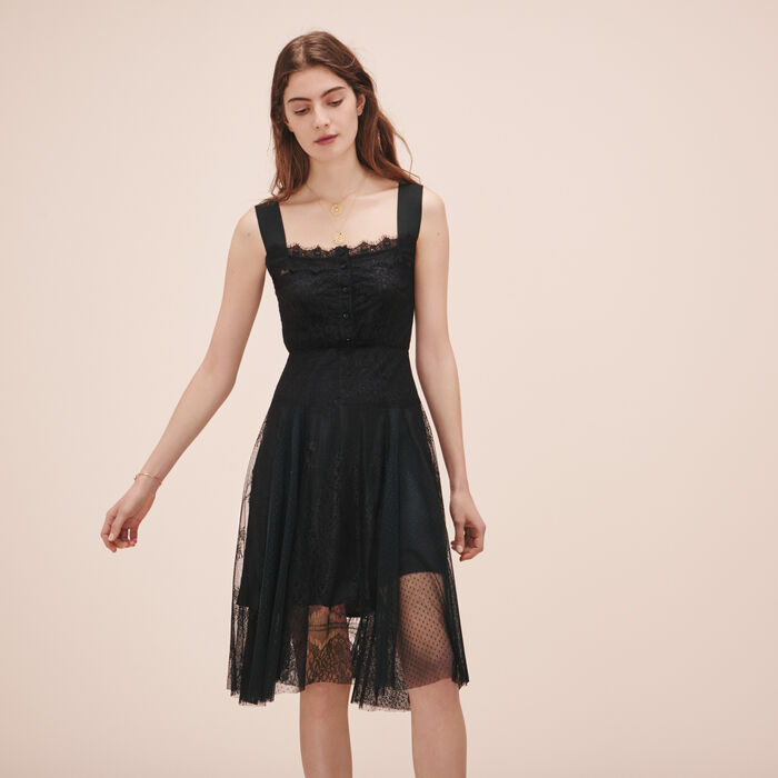 Long lace and dotted Swiss dress - Robes - MAJE