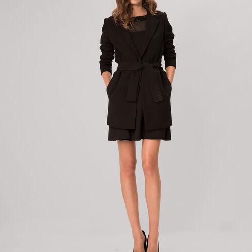 Thin coat with diamanté details : Coats color Black 210