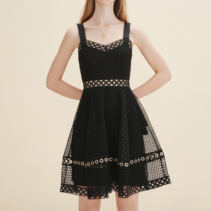 Embroidered strappy dress - The little black dresses - MAJE