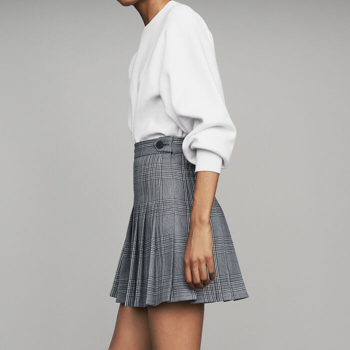 Pleated skort in jacquard : New Collection color CARREAUX
