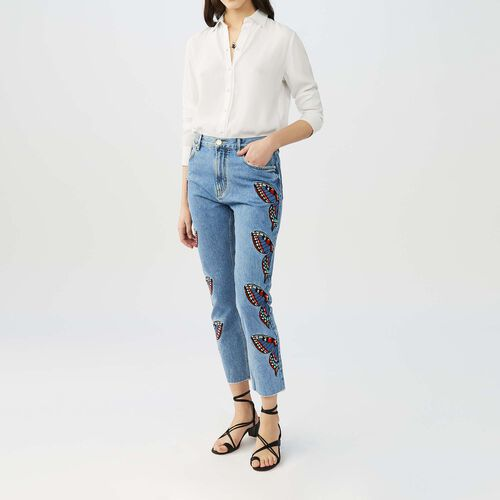 Straight cut jeans with embroidery : This week color Denim