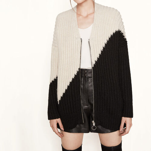 Loose two-tone knit cardigan : Sweaters & Cardigans color Two-Tone