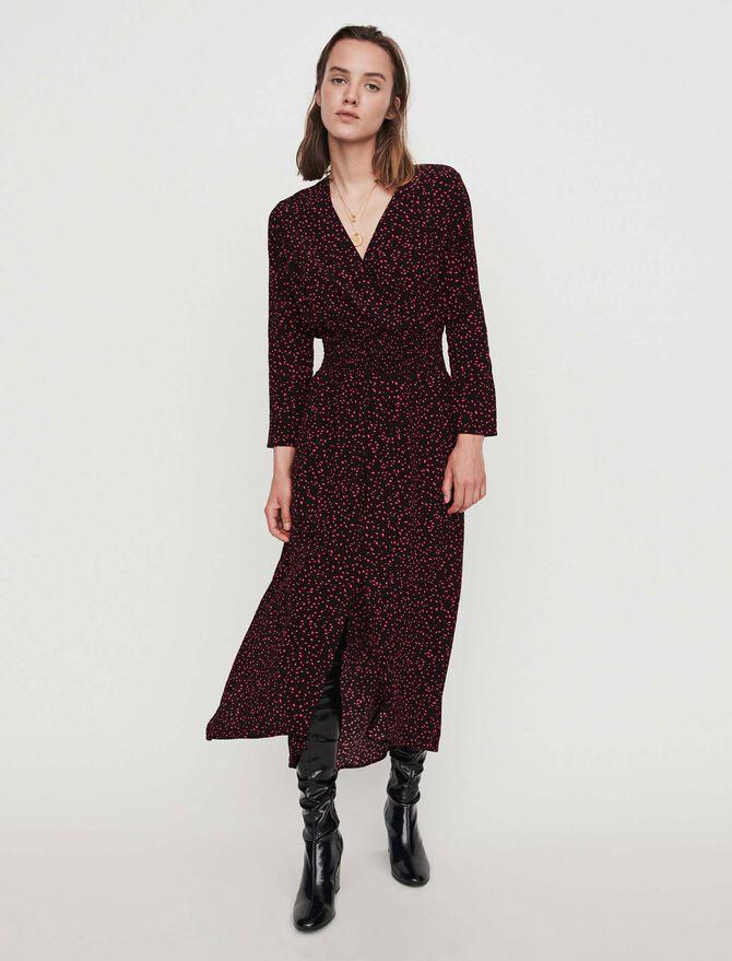 Printed-crepe smock dress - Dresses - MAJE