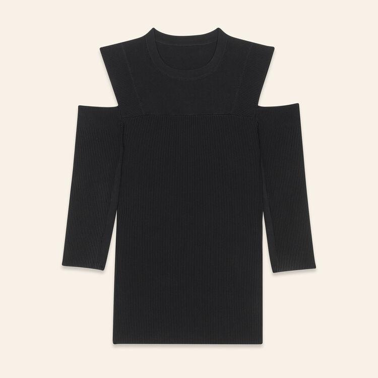 Stretch knit off-the-shoulder jumper : Knitwear color Black 210