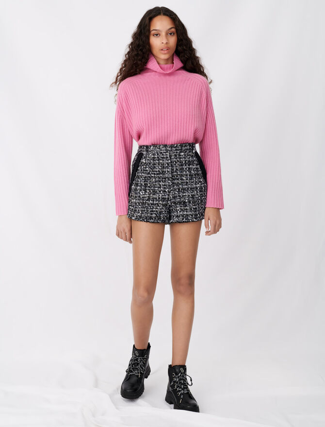 Tweed-style shorts with contrast trims -  - MAJE