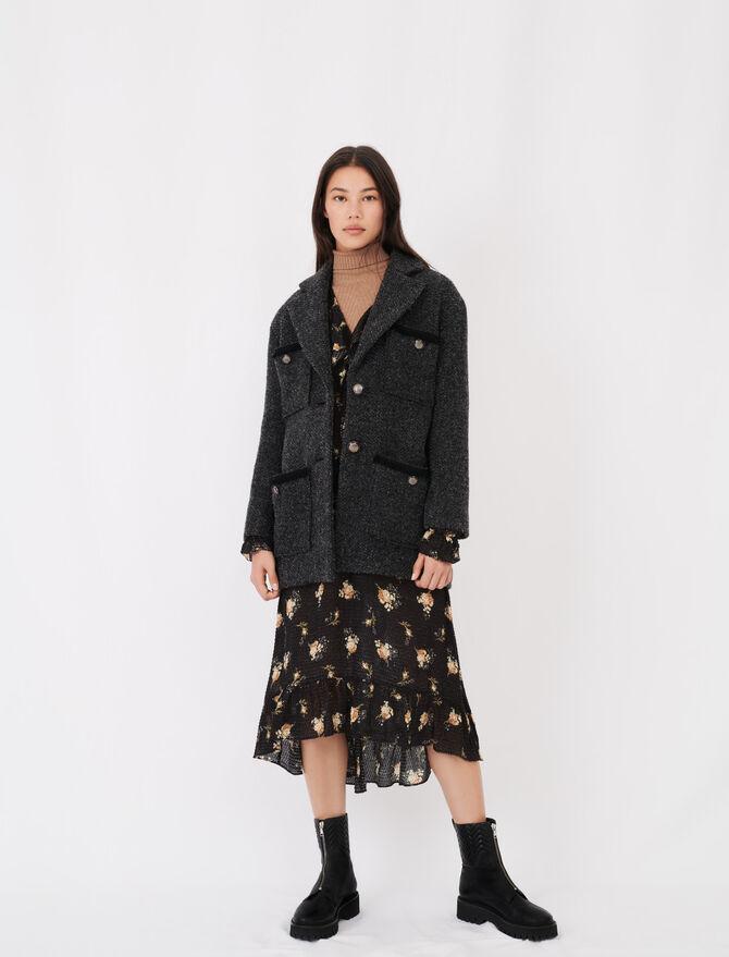 Tweed-style coat with martingale - Coats & Jackets - MAJE