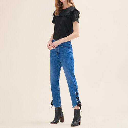 Boyfriend-cut cropped jeans : Trousers & Jeans color Blue