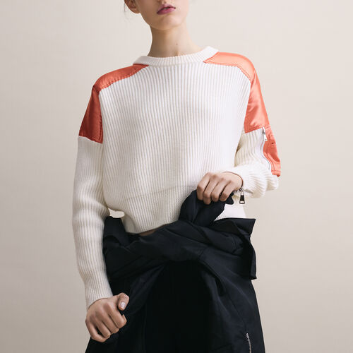 Cropped jumper in full cardigan rib : Sweaters & Cardigans color Ecru
