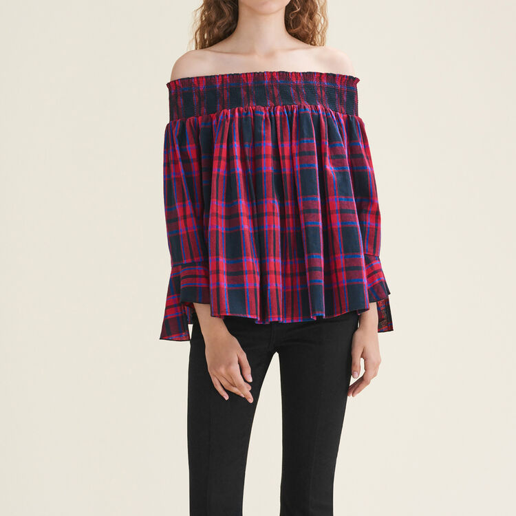 Checked off-the-shoulder top - Tops - MAJE