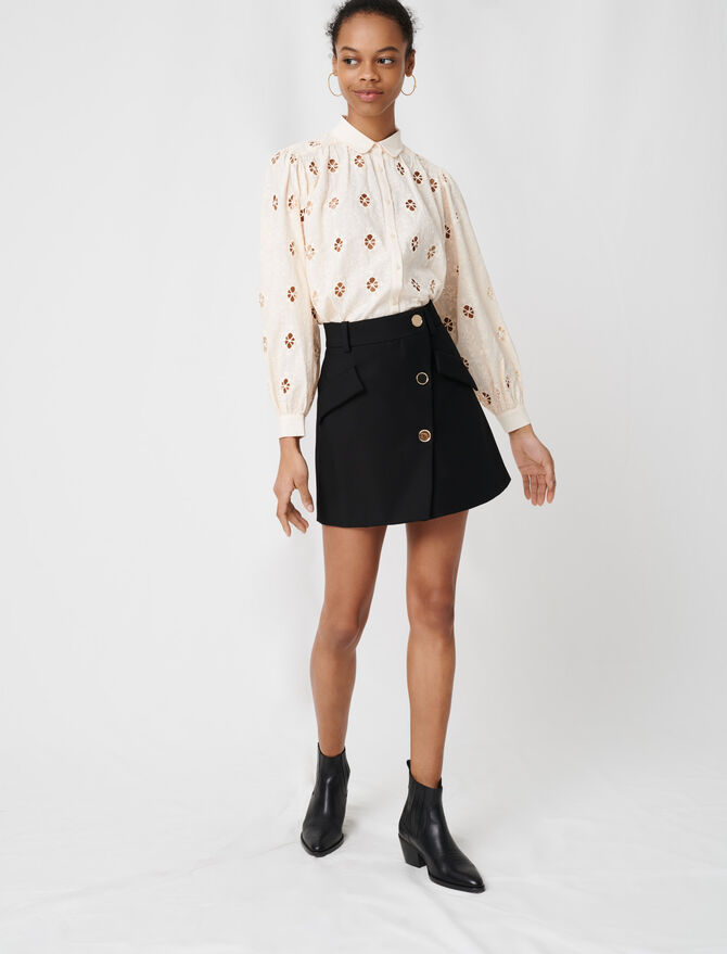 Crepe skirt with contrasting buttons -  - MAJE