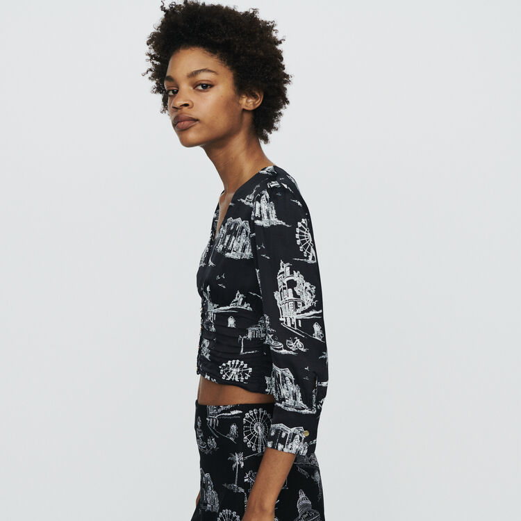 Cropped top in Paris print : Tops & Shirts color Black 210