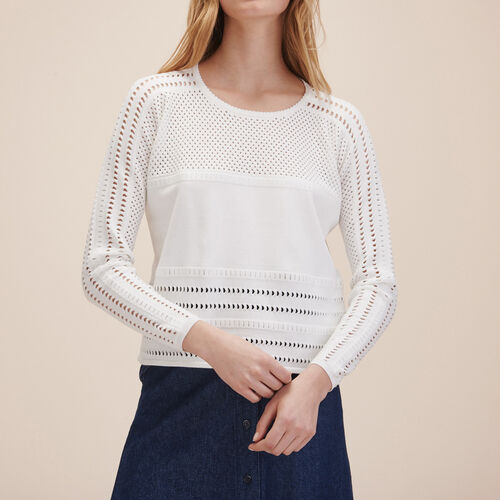 Openwork knit jumper : Sweaters & Cardigans color WHITE