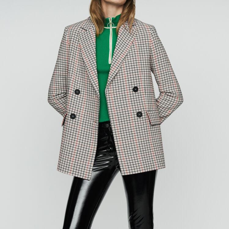Plaid wool-blend blazer : New Collection color CARREAUX