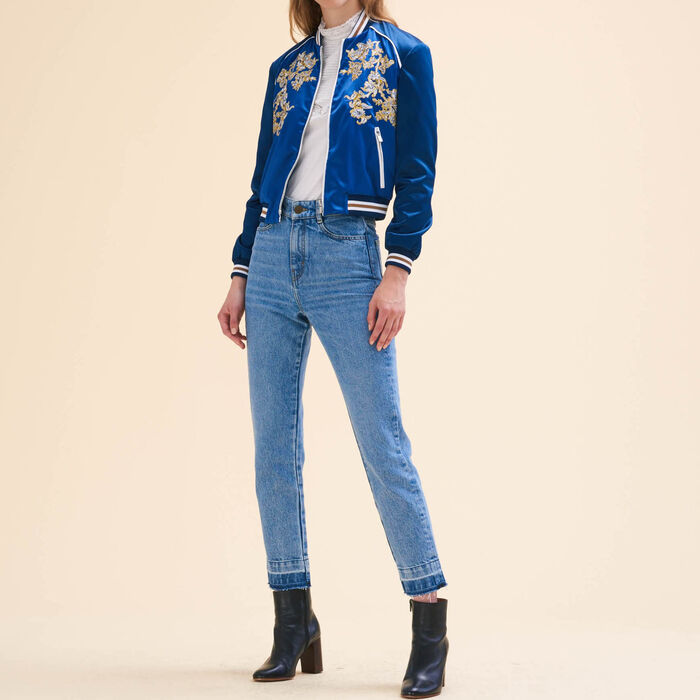 Embroidered bomber jacket : Jackets & Blazers color Blue