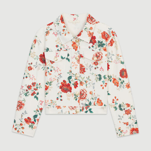 Denim jacket with floral print : New in : Summer Collection color PRINTED