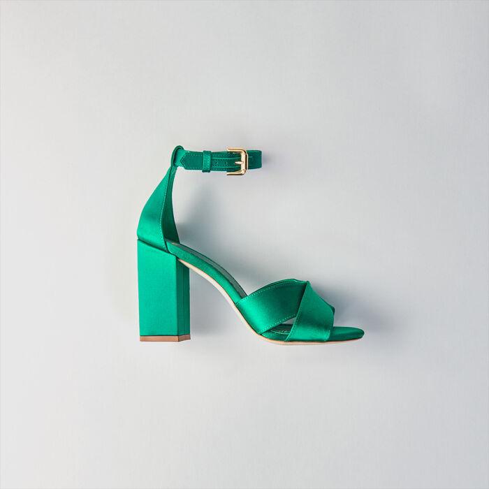 Heeled satin sandals : Slipper color GREEN