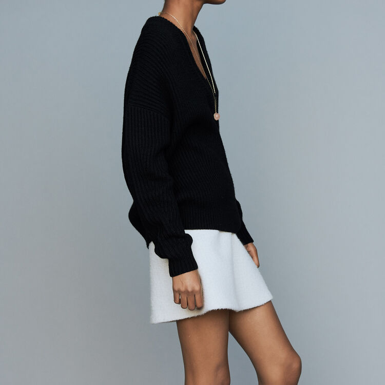 Oversized sweater in wool blend : Tartan color Black 210