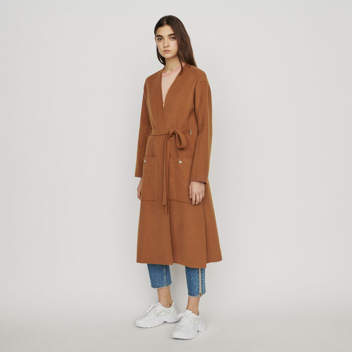 Long double-face wool coat : New in : Summer Collection color Caramel