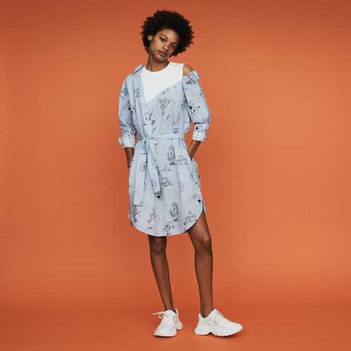Trompe l'oeil printed shirt dress : Dresses color Blue