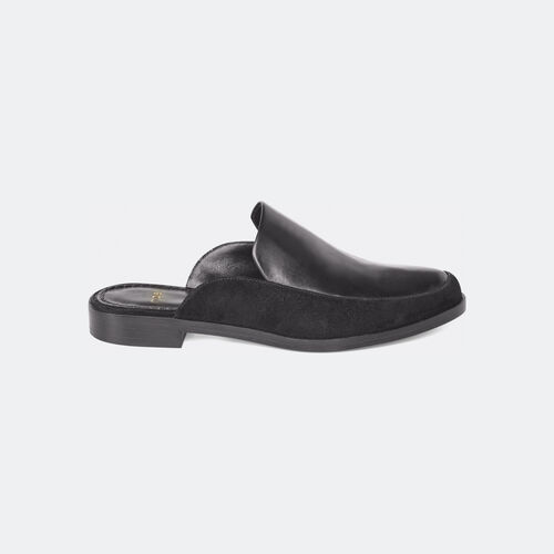 Black calfskin two-material mules : Accessories color Black 210