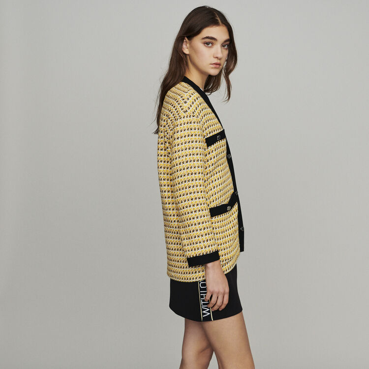 Jacket in tweed and lurex : Blazers color Yellow