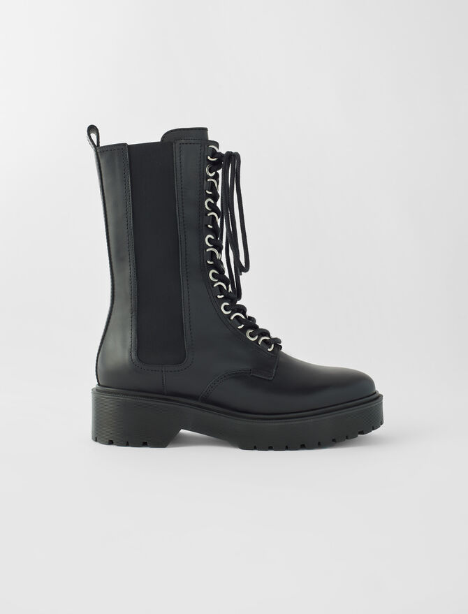 Black leather high-heeled boots - New collection - MAJE