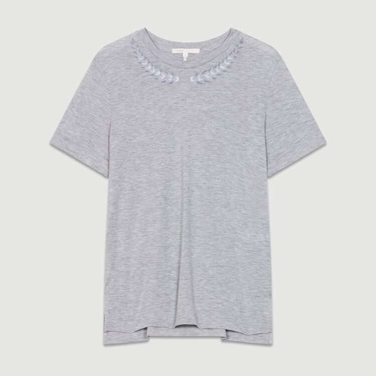 Embroidered T-shirt : New Collection color Grey