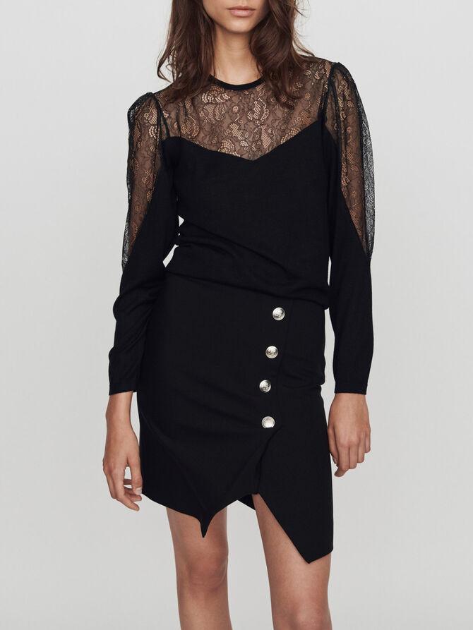 Light knit and lace sweater - pull - MAJE