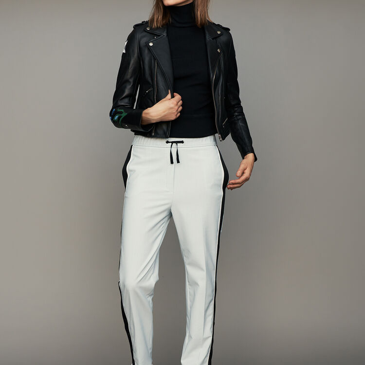 Elastic waist pants with side stripes : Trousers color Blue Sky