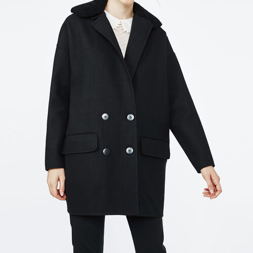 Double face coat with sheepskin collar : Coats color Black 210