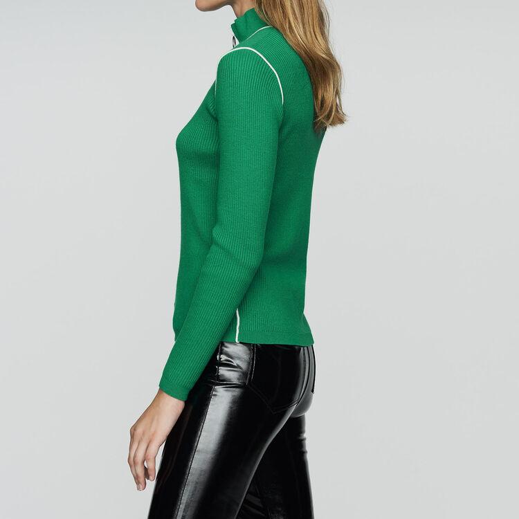 Trucker-collared sweater in fine knit : Knitwear color Green