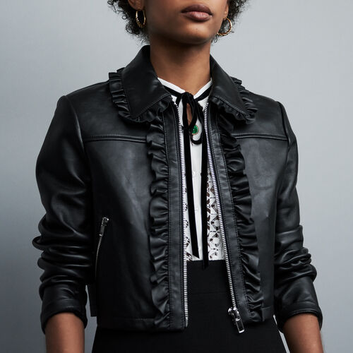 Cropped leather jacket with ruffles : See all color Black 210