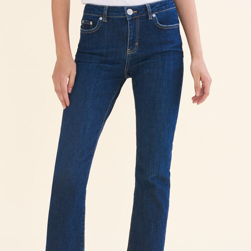 7/8-length stretch cotton jeans : Jeans color Blue