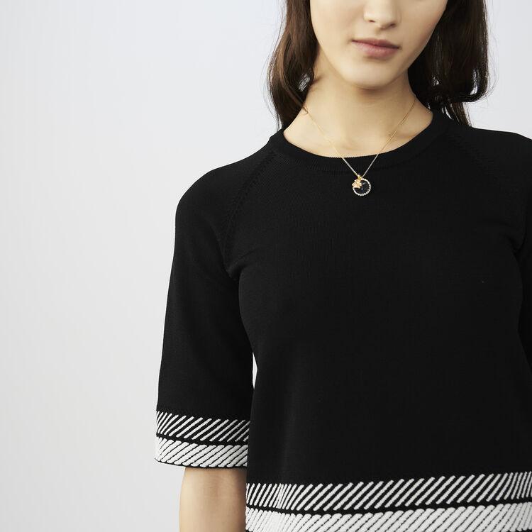 Oversized short-sleeved sweater : Knitwear color Black 210
