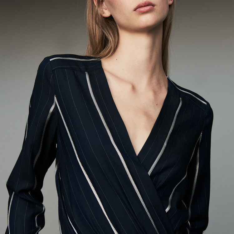Striped jumpsuit : Trousers color Navy