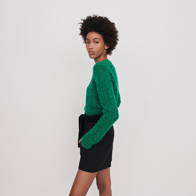 Belted velvet shorts : Skirts & Shorts color Black