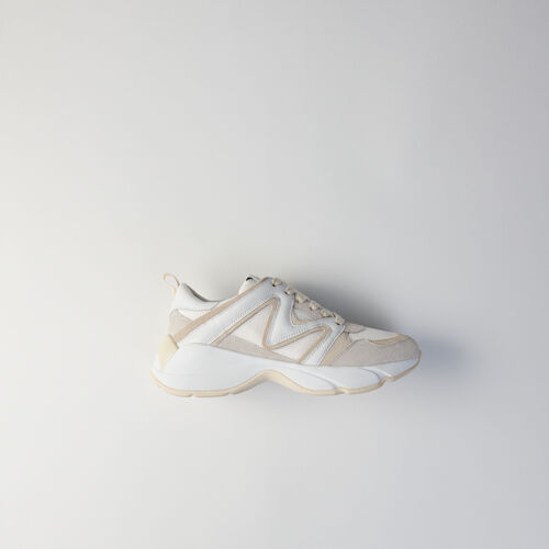 W22 mixed material sneakers : Sneakers color Off White