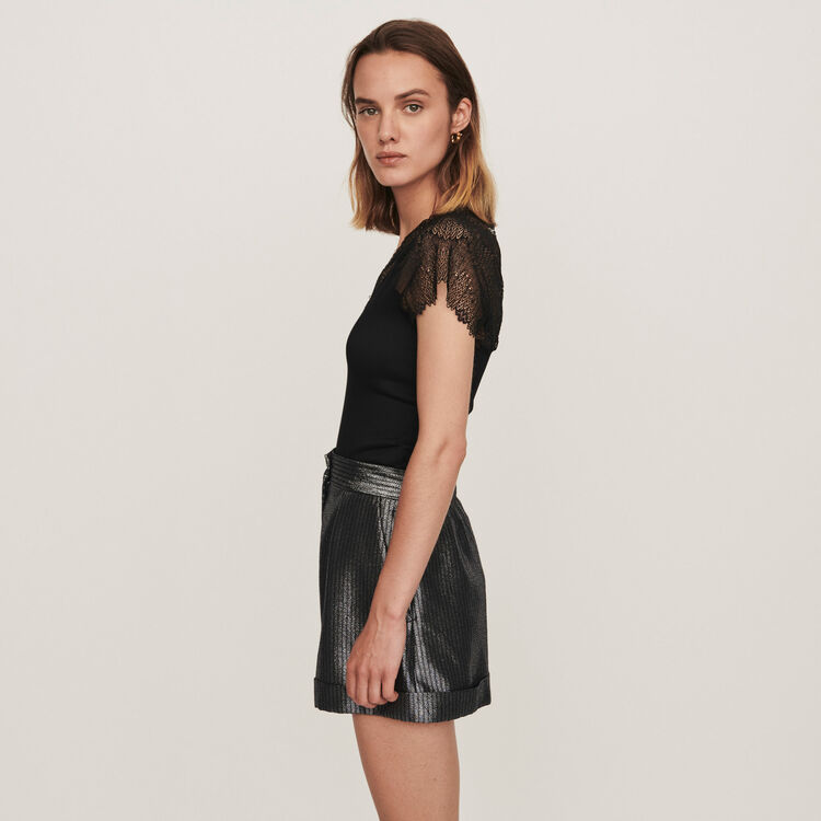 Jersey top with lace trim : Tops & Shirts color Black