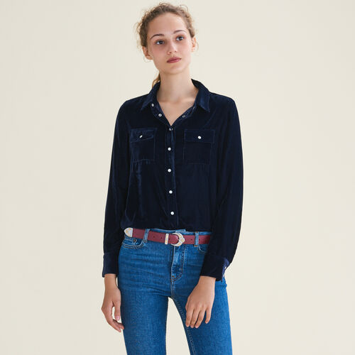 Velvet shirt : Tops color Navy