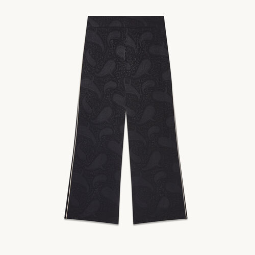 Wide-leg trousers with brocade print - null - MAJE
