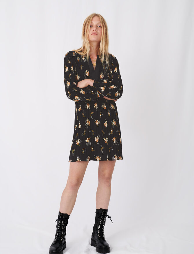 Fitted waist skater dress, printed crêpe - New collection - MAJE