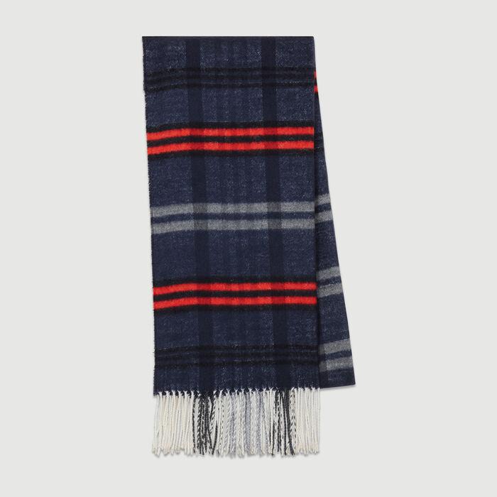 Plaid knit scarf : Shawls & Ponchos color Blue