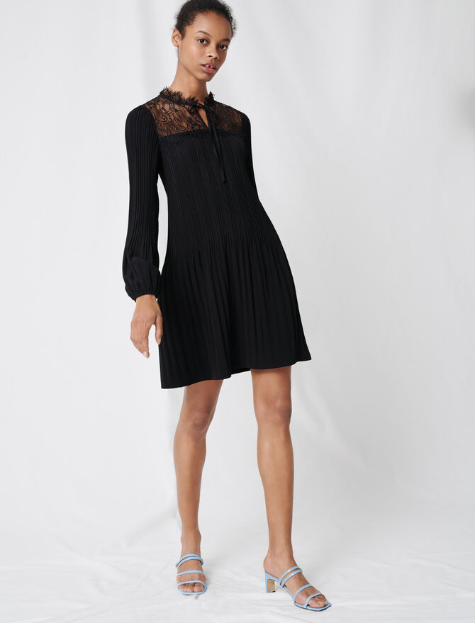 Pleated lace dress -  - MAJE