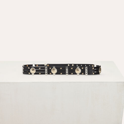 Leather belt with medallions : Belts color Black 210