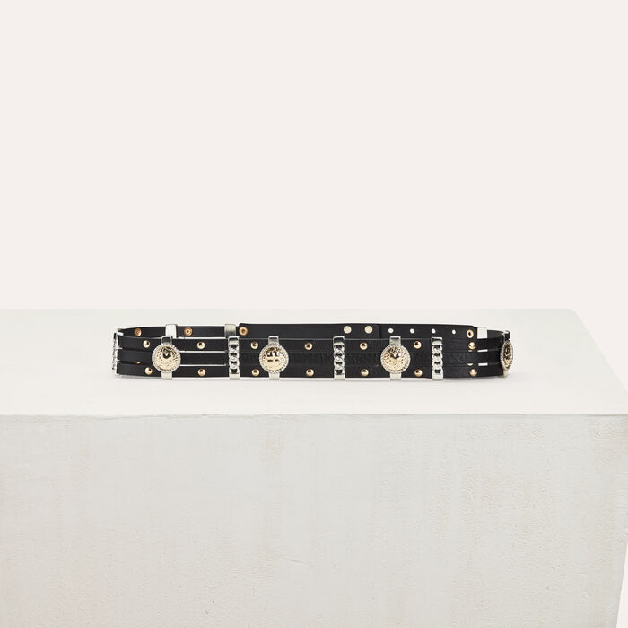 Leather belt with medallions : New collection color Black 210