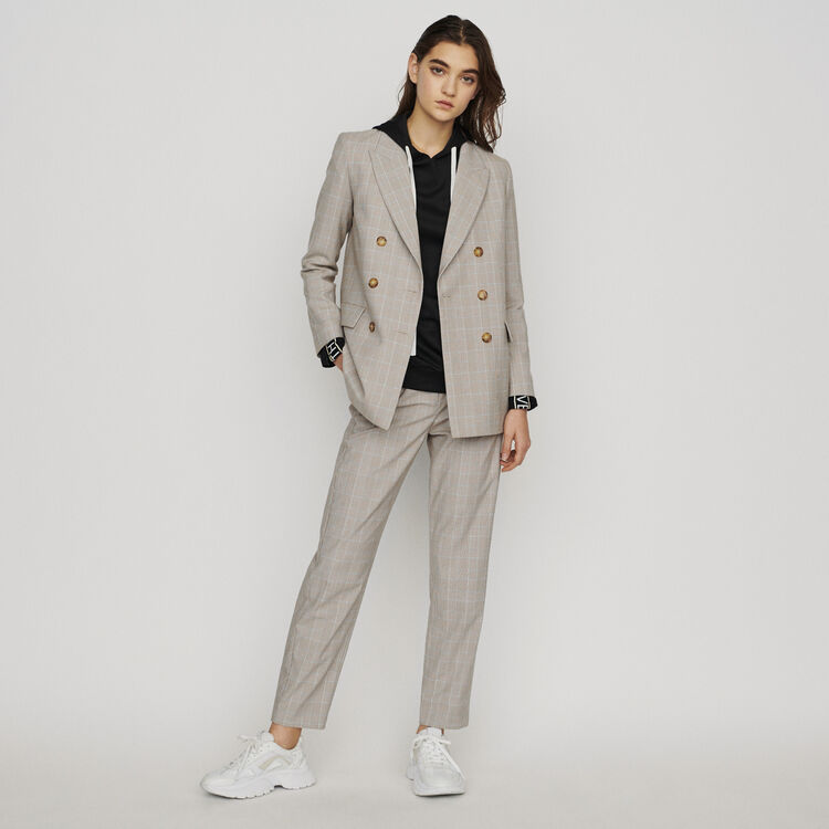 Double-breasted checked blazer : Blazers color CARREAUX