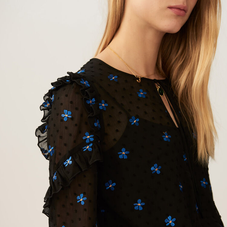 Embroidered chiffon top : Tops color Black 210
