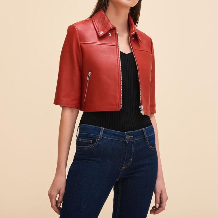 Cropped leather jacket - Jackets - MAJE