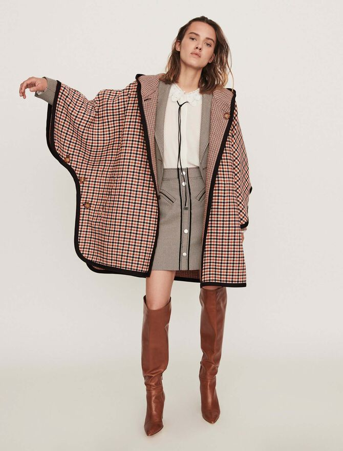 Reversible poncho coat -  - MAJE